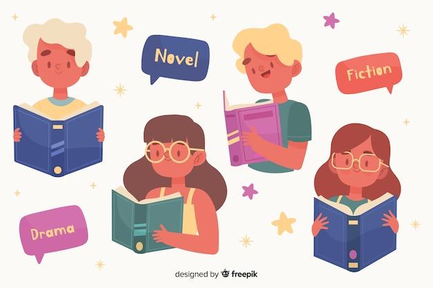 Молодые люди читают дизайн для иллюстрации