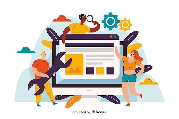 Концепция целевой страницы настройки веб-сайта