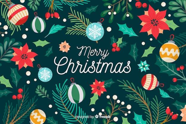 手描き花クリスマス背景