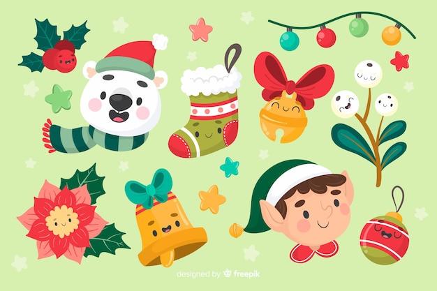 クリスマス要素コレクションの手で描かれたデザイン