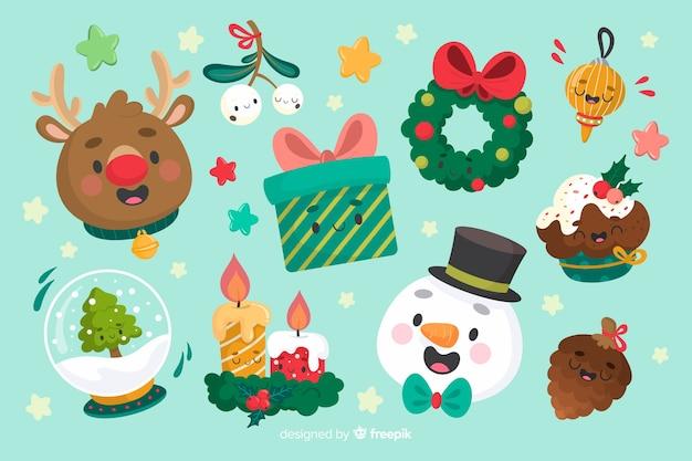 青色の背景にクリスマス要素のコレクション