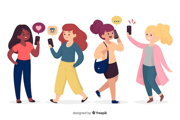 Молодые люди держат смартфон иллюстрации