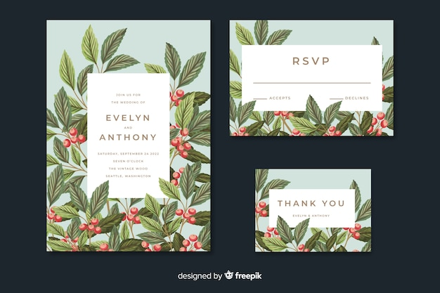 葉を持つヴィンテージの結婚式の招待状