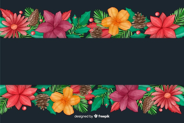 Новогодний фон с цветами акварельный дизайн
