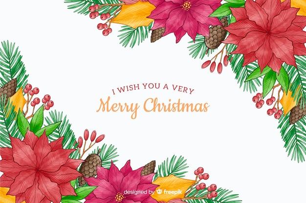 花の水彩画デザインクリスマス背景