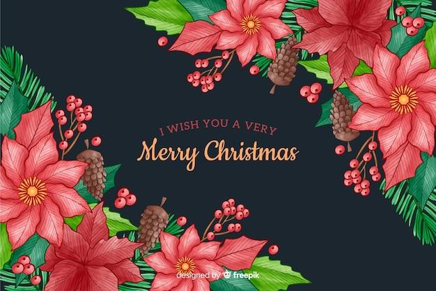 花と水彩風クリスマスの背景