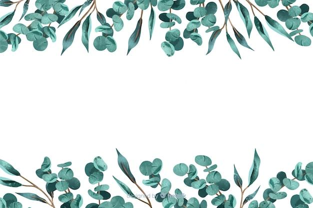 葉のフレームと抽象的な背景