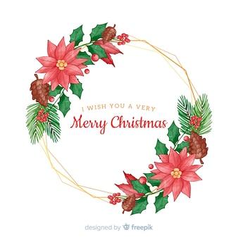 メリークリスマスと花の手描きスタイル