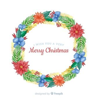 美しい青い花とクリスマスリース