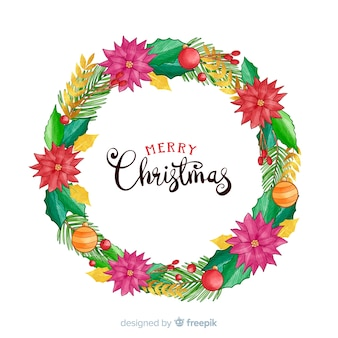 Рождественский венок с цветами и глобусами