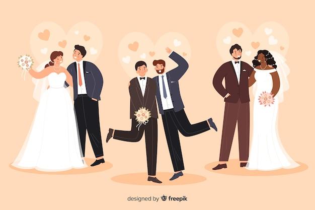 フラットなデザインの結婚式のカップルコレクション