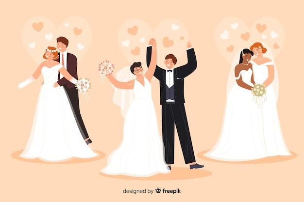 Коллекция свадебной пары в плоском дизайне