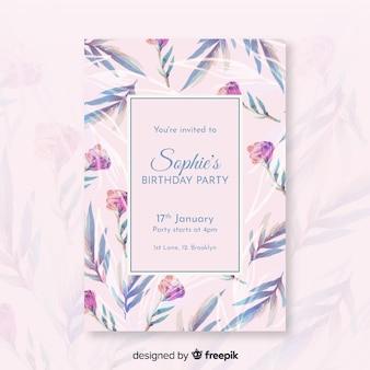 かなり花の誕生日の招待状のテンプレート