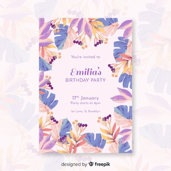 花とカラフルな誕生日の招待状