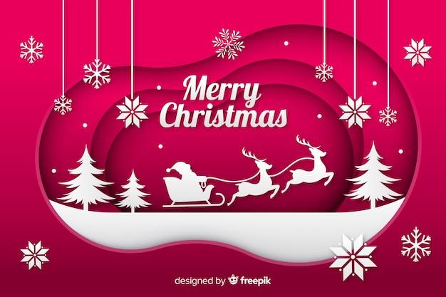 サンタのそりとクリスマスの背景