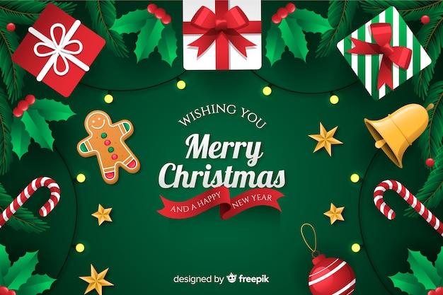 Рождественский фон с подарками плоский дизайн стиль