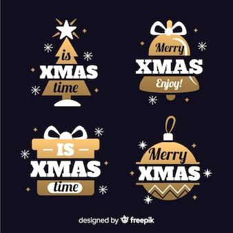 クリスマスラベルコレクションフラットなデザインスタイル
