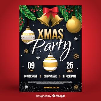 Рождественская вечеринка плакат шаблон плоский дизайн стиль