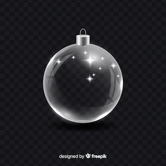 Хрустальный новогодний шар на черном фоне