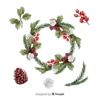 Коллекция акварельных рождественских цветов