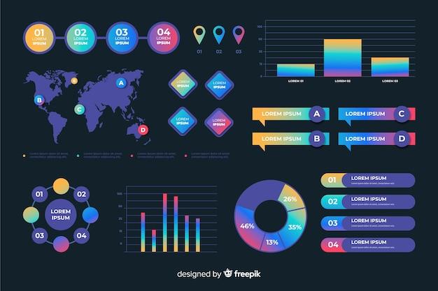 テンプレートグラデーションビジネスインフォグラフィック