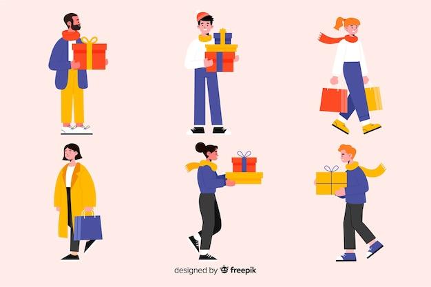 クリスマスプレゼントを買うフラットなデザインの人々