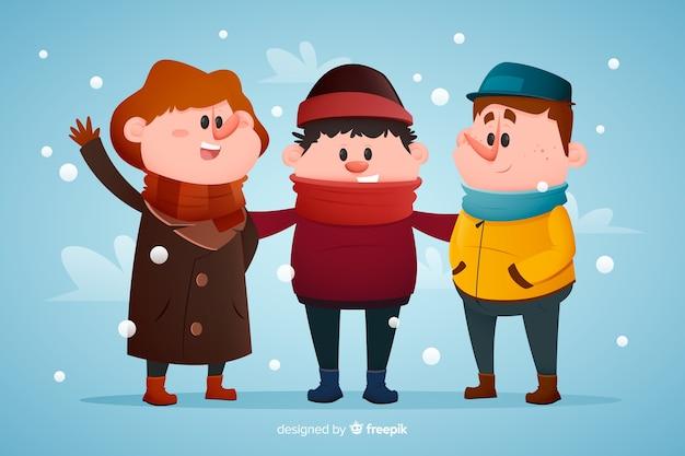 Люди в зимней одежде рисованной