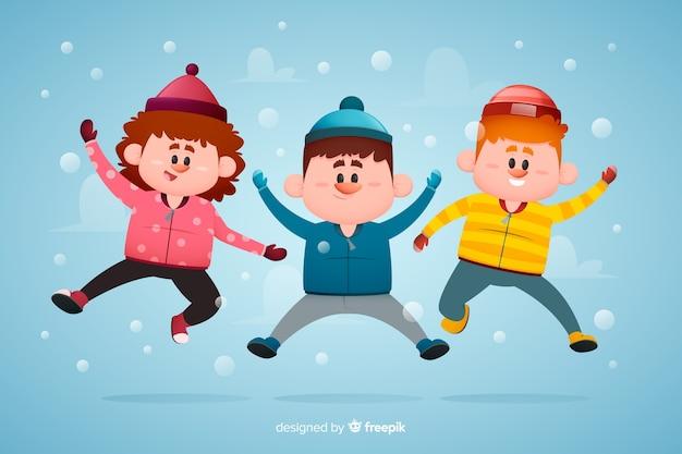 Молодые люди в зимней одежде прыгают рисованной