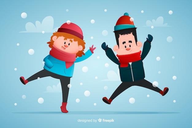Молодые люди в зимней одежде прыгает рисованной иллюстрации