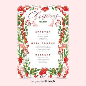 Шаблон меню акварель рождество с листьями и фруктами