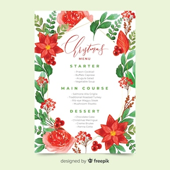 水彩のクリスマスメニューテンプレートと美しい赤い花