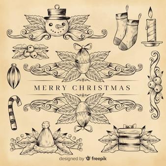 セピア色のレトロなクリスマスの装飾