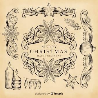 Старинные рождественские украшения на цвета сепии