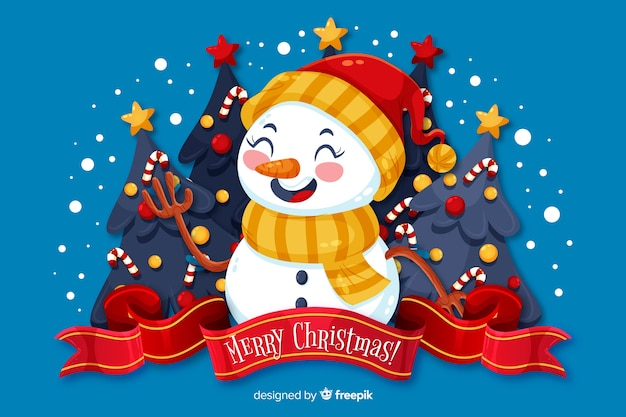Плоский новогодний фон и снеговик в шляпе