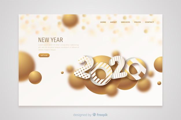 フラットなデザインの新年ランディングページテンプレート