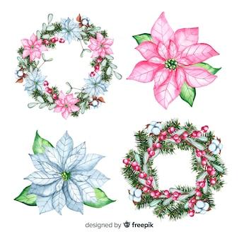 Цветочный рождественский венок в акварельном дизайне