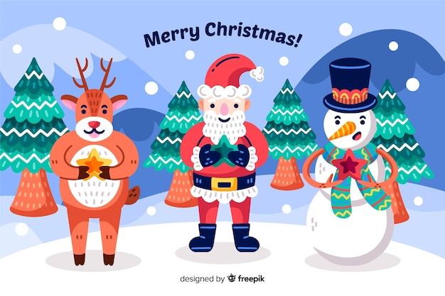 手描きのクリスマスの背景にサンタクロースと彼のヘルパー