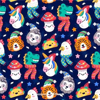 Забавный рождественский узор с животными и тако