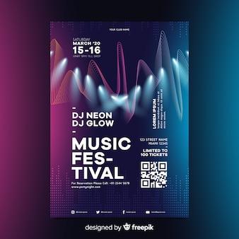 Шаблон плаката абстрактная волна электронной музыки