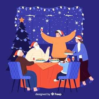 家族一緒にクリスマスディナーを楽しんで