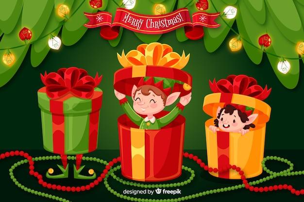 Рождественская концепция в плоском дизайне