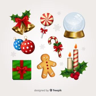 Реалистичная рождественская коллекция элементов