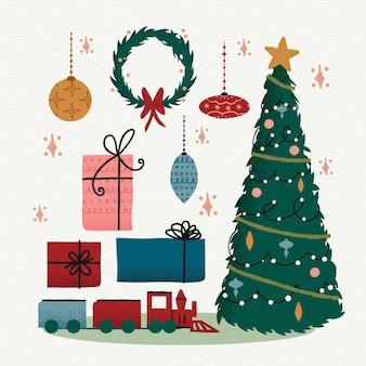 Урожай рождественская коллекция элементов