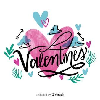 美しい幸せなバレンタインレタリング