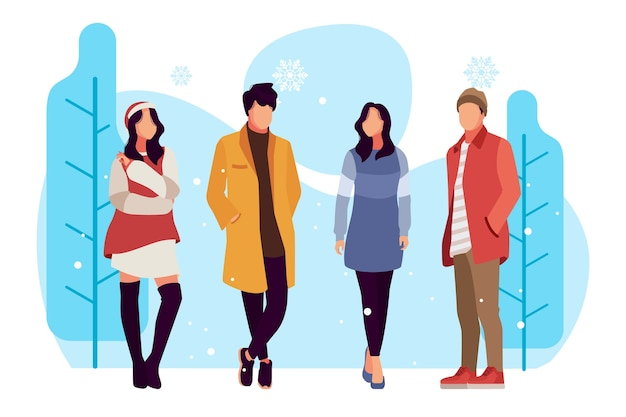 冬の服を着ているファッションの人々