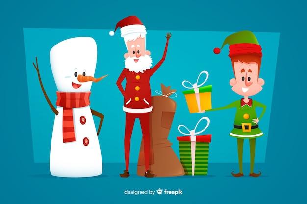 Коллекция плоских рождественских персонажей