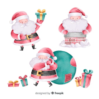 水彩サンタクロースキャラクターコレクション