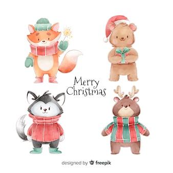 Коллекция акварельных рождественских персонажей