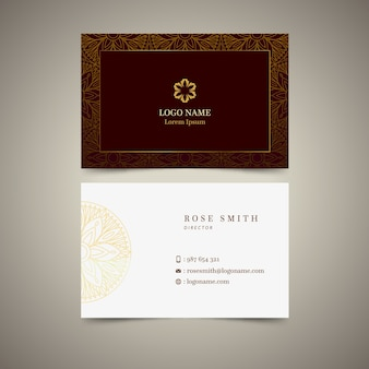 Шаблон золотого цветочного визитной карточки