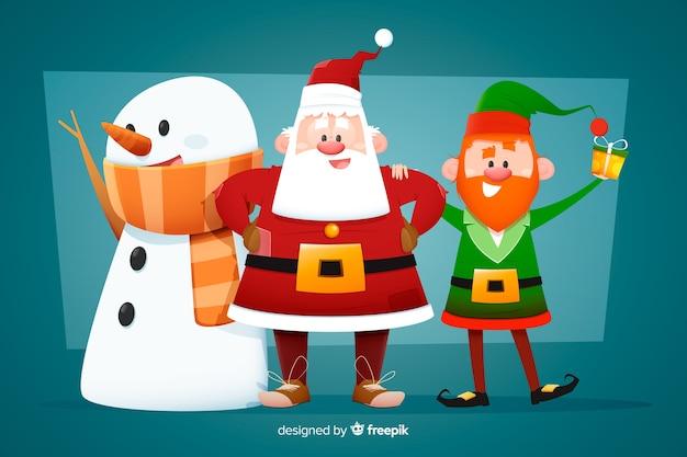 Коллекция рождественских персонажей в плоском дизайне